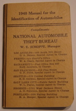 Image for 1948 Manual for the Identification of Automobiles