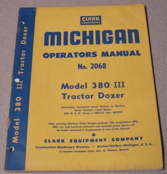 Image for Michigan Operators Manual No. 2068 Model 380 III Tractor Dozer