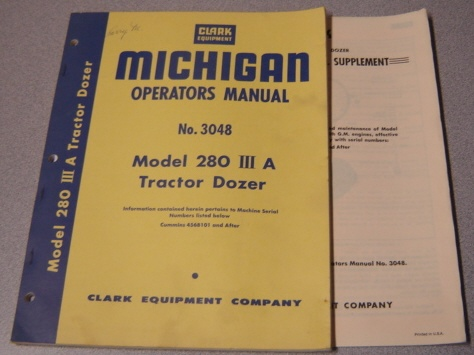 Image for Michigan Operators Manual No. 3048 Model 280 III A Tractor Dozer with Supplement No. 3105