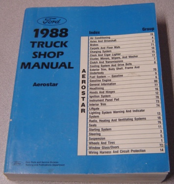 Image for Ford 1988 Aerostar Truck Shop Manual