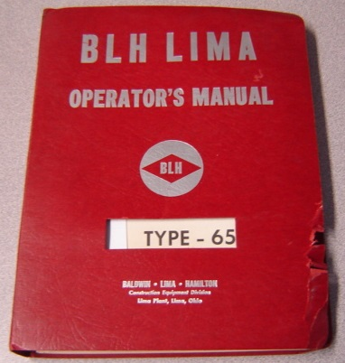 Image for Operator's Manual for Lima Type 65: Crawler, Truck and Wagon Mounted Machines