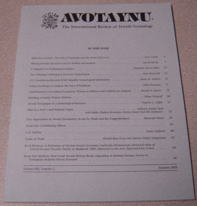 Image for Avotaynu: The International Review of Jewish Genealogy, Volume XXI, Number 2, Summer 2005