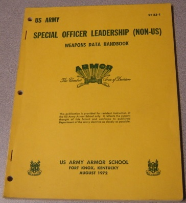Image for US Army Special Officer Leadership (Non-US) Weapons Data Handbook (ST 23-1)