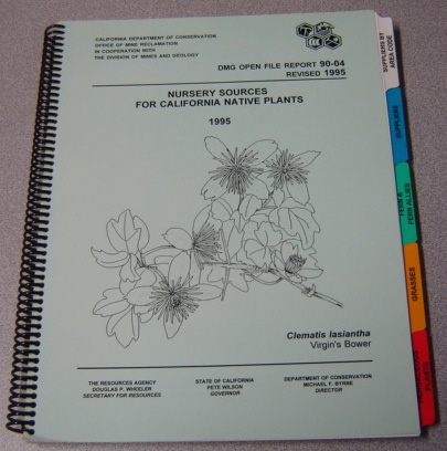Image for Nursery Sources for California Native Plants 1995 (DMG Open File Report 90-04)