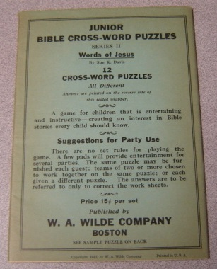 Image for Junior Bible Cross-word Puzzles, Series II, Words Of Jesus